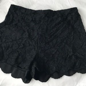 Black lace high wasted mini shorts
